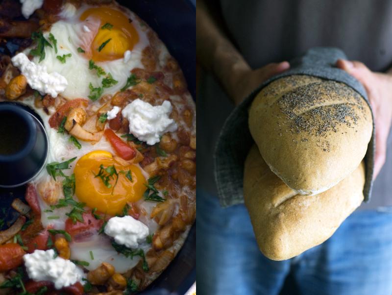 Ovos com feijão branco e pimento