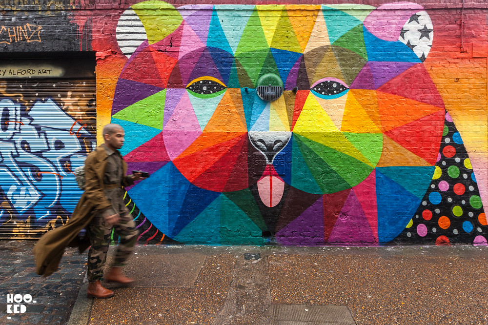 Multi-coloured London mural by Spanish artist Okuda San Miguel