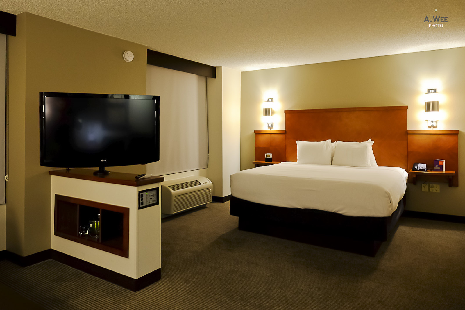 King bed and TV console