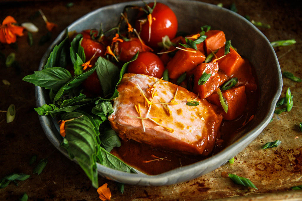 Paleo Red Curry Braised Salmon and Sweet Potatoes from HeatherChristo.com