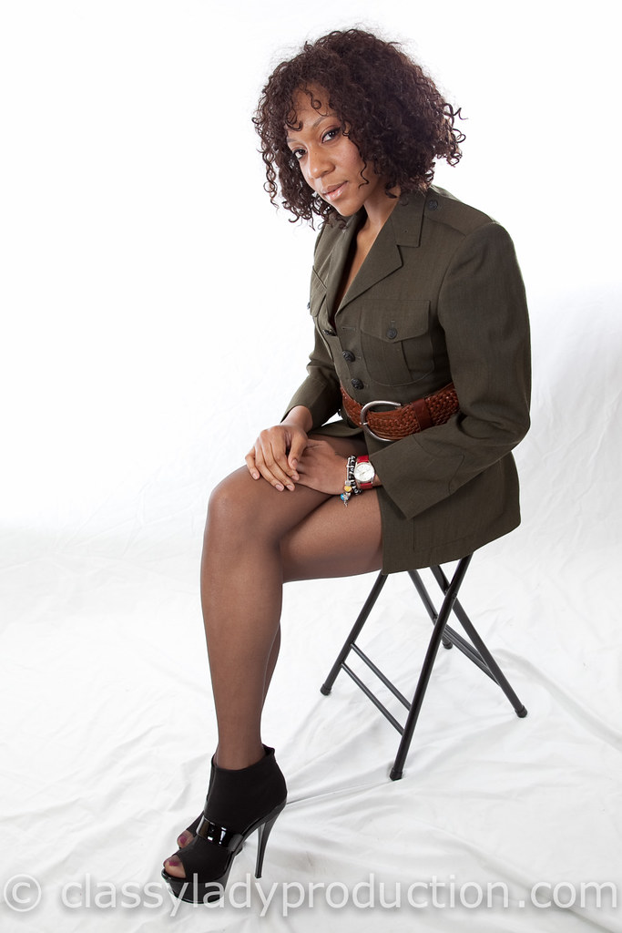 Army Girl  Beautiful Ebony Woman In A Military Jacket And B  Flickr-8797