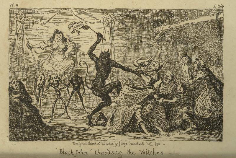 "George Cruikshank -""Black John"" Chastising the Witches, Illustration from ""Letters On Demonology And Witchcraft"" by Walter Scott, 1830"