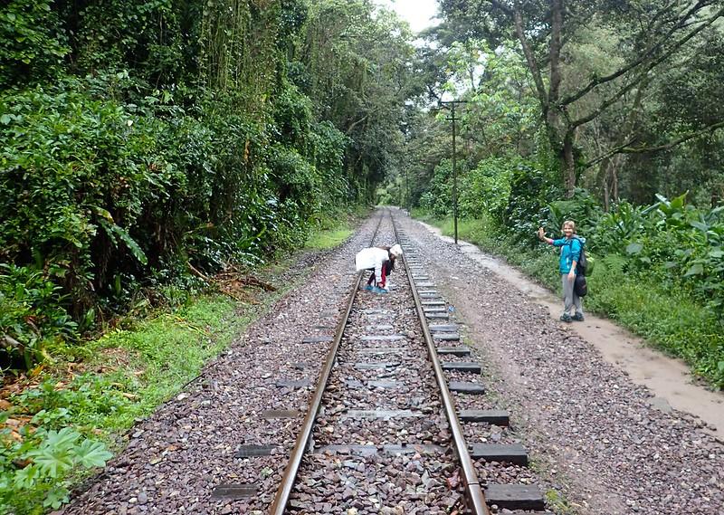 Siguiendo la vía del tren desde la Hidroeléctrica (Santa Teresa) hasta Aguas Calientes.