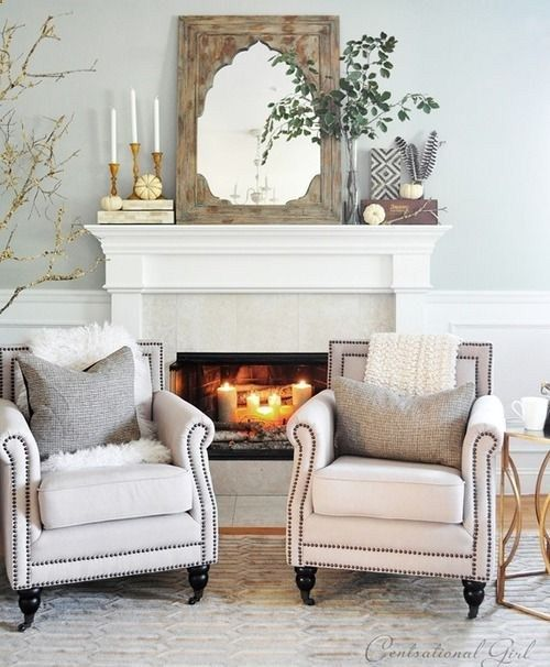 Farmhouse chic living room fireplace decor | Wooden mirror on mantle
