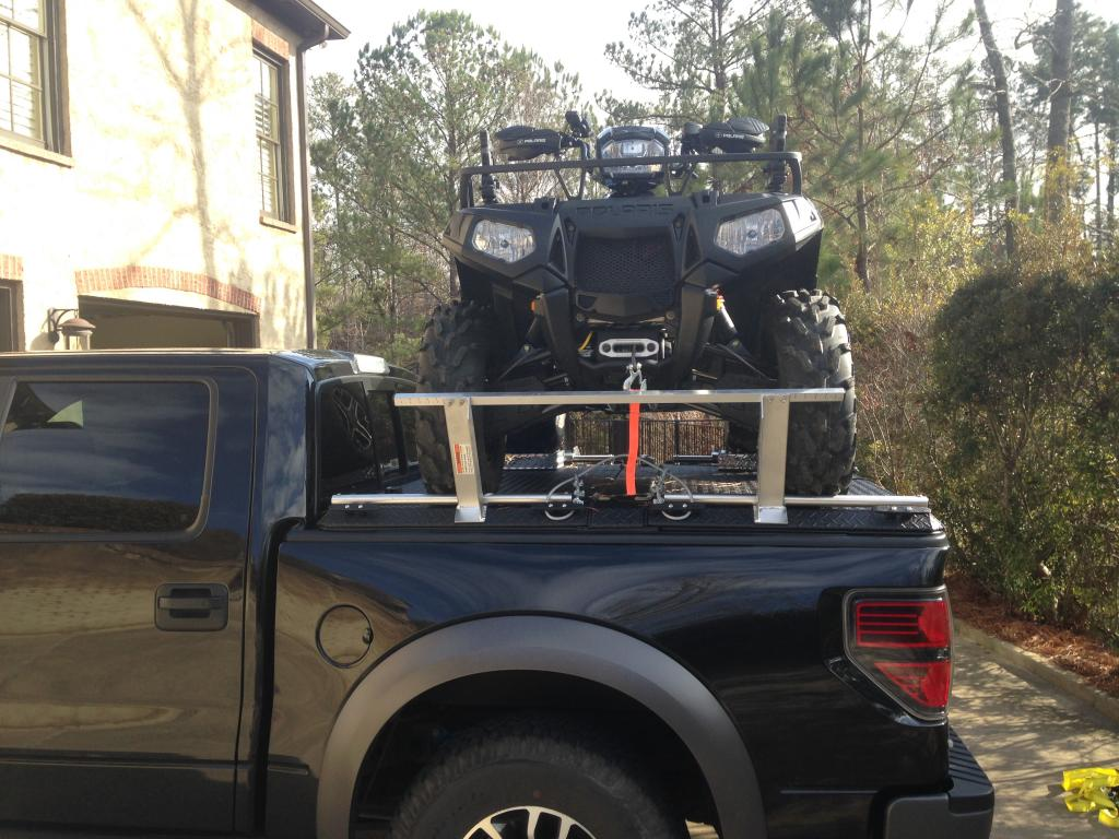 Side By Side Atv >> An ATV Loaded On Top Of a Ford F150 Truck Bed. | A ...