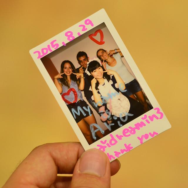 Fotografía polaroid que nos dieron en el Maid Cafe de Akihabara en Tokio al terminar de comer
