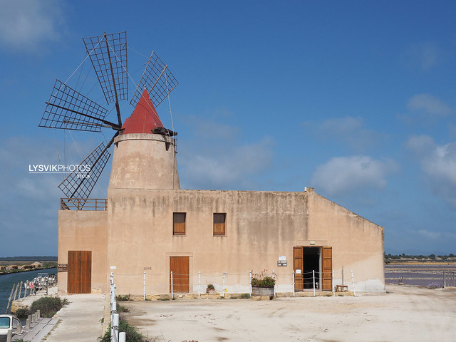Traditional salt manufacturing windmill with the salt museum