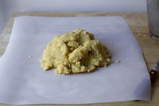 gather dough scraps into a pile