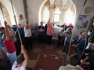 Photo OMD-M1_20151008_PA080015 of 'Cumbrian Codgers' ringing inside tower at St James, Barrow-in-Furness