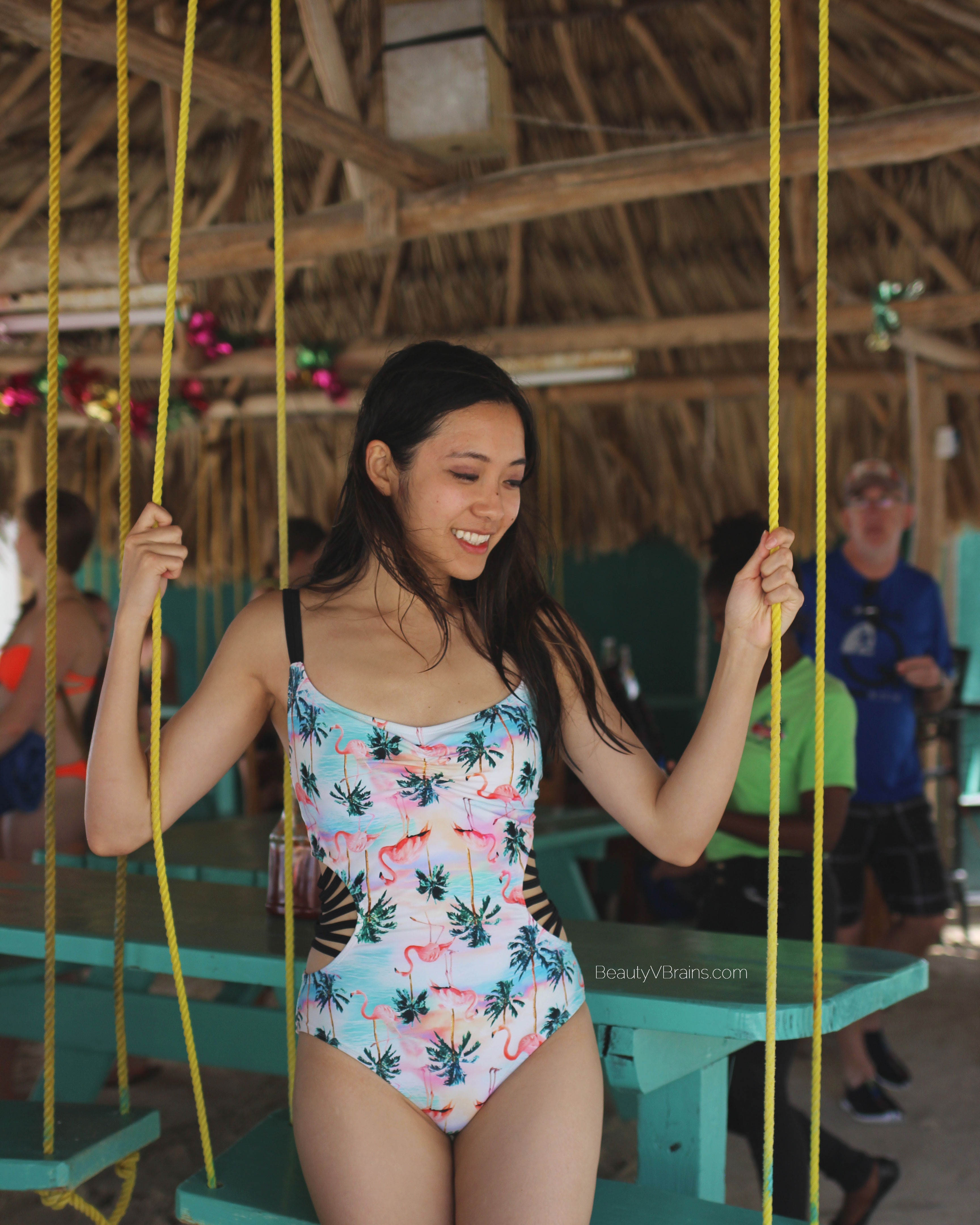 Flamingo one piece swimsuit on Caye Caulker