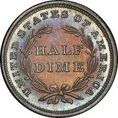 Pittman Proof 1837 No Stars Half Dime reverse