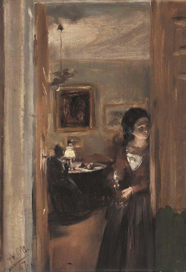Adolph von Menzel, Wohnzimmer mit Menzels Schwester 1847, Neue Pinakothek München