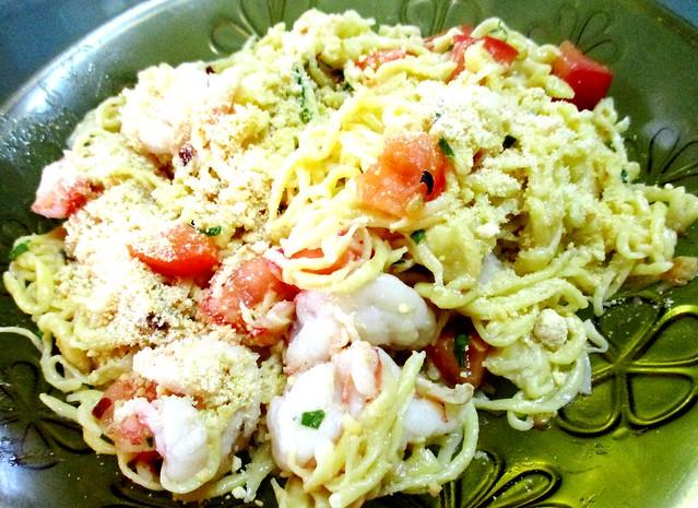 Seafood aglio olio pumpkin noodles