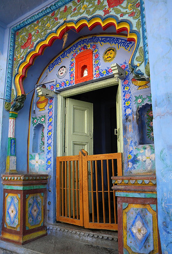 In Bundi, this home features an altar above the door of Ganesh, the Hindu elephant boy god. According to a local all homes in the region add an image of Ganesh on their walls along with their names and the date of their marriage as a way to bless their un