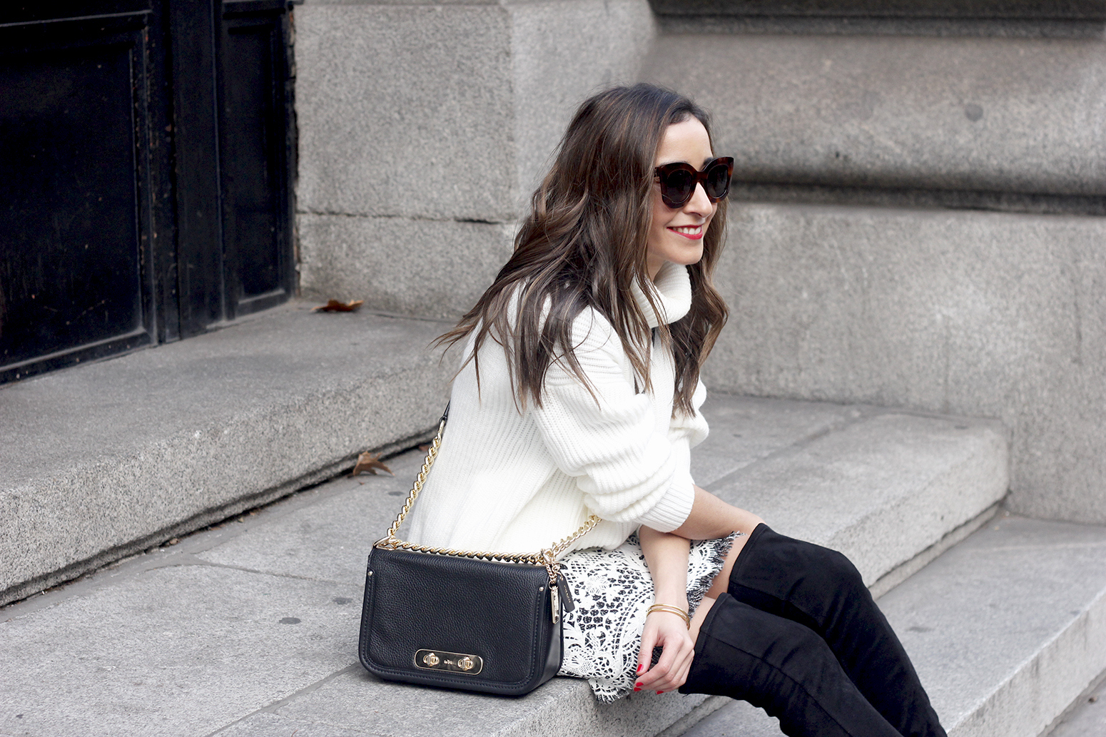 black and white lace skirt over the knee boots white turtleneck jersey outfit style winter12