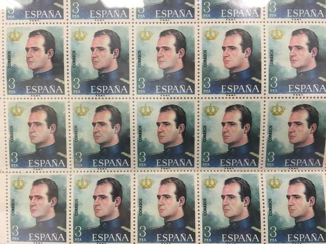 Sellos con la efigie del Rey Juan Carlos I expuestos en el Museo Postal y Fotográfico de Madrid