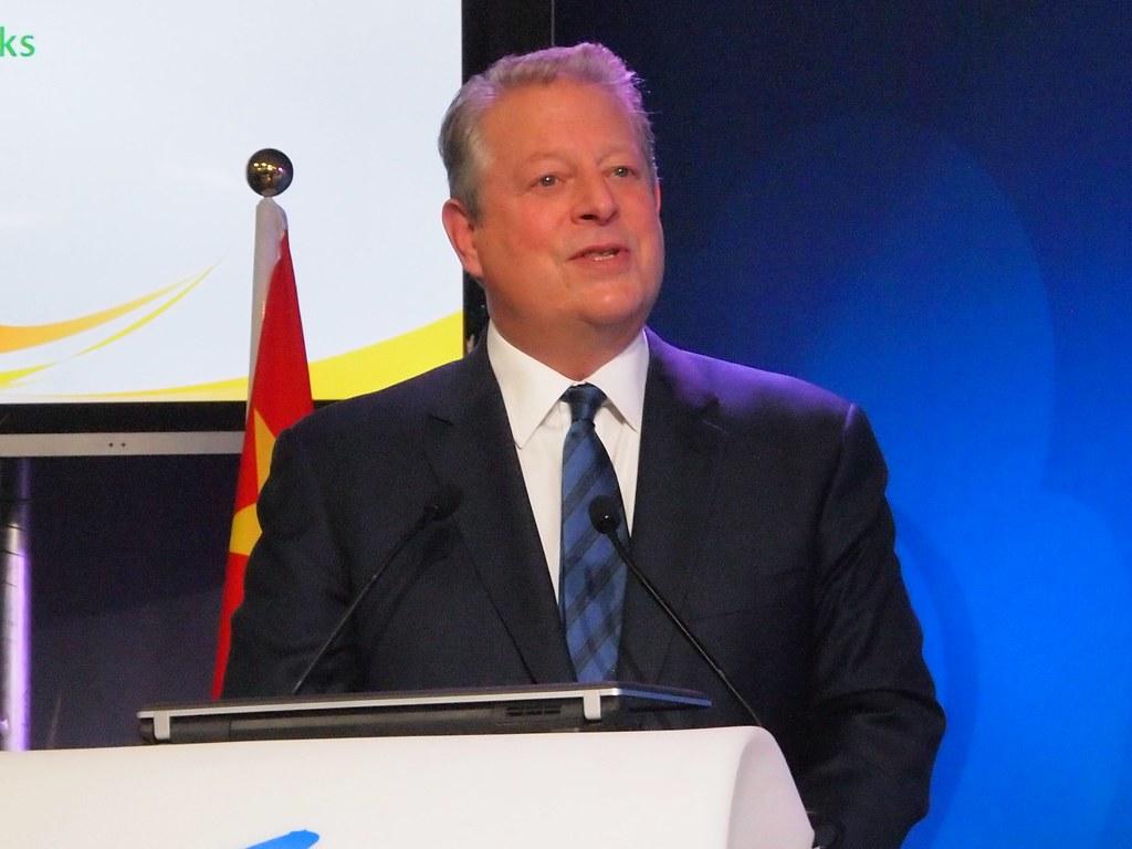 高爾3日出席氣候大會周邊會議,強調再生能源與低碳經濟,已是世界潮流。攝影:賴慧玲。
