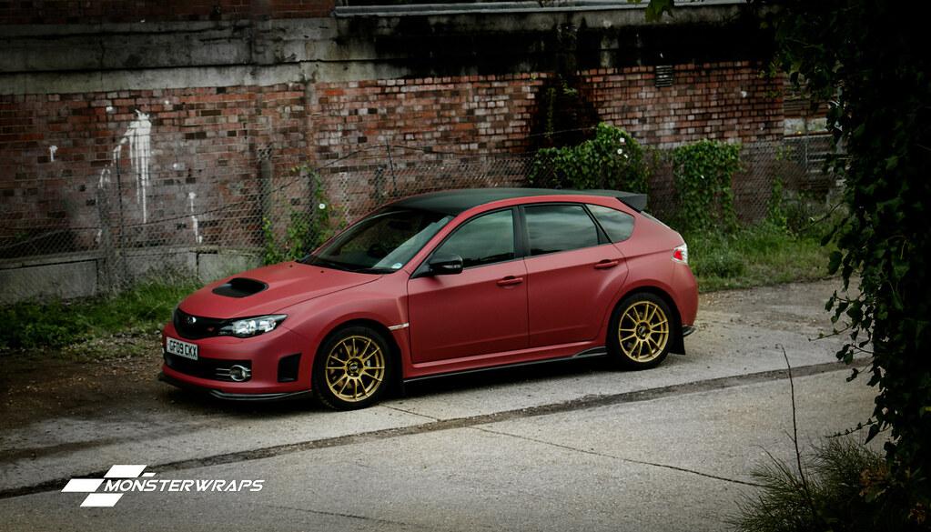 Subaru Impreza WRX Matte metallic red wrap   Subaru