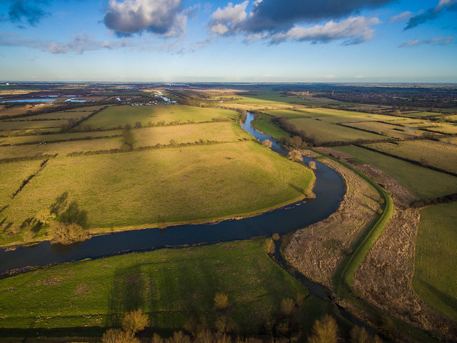 Looking North Along the Great River Ouse near Fen Drayton