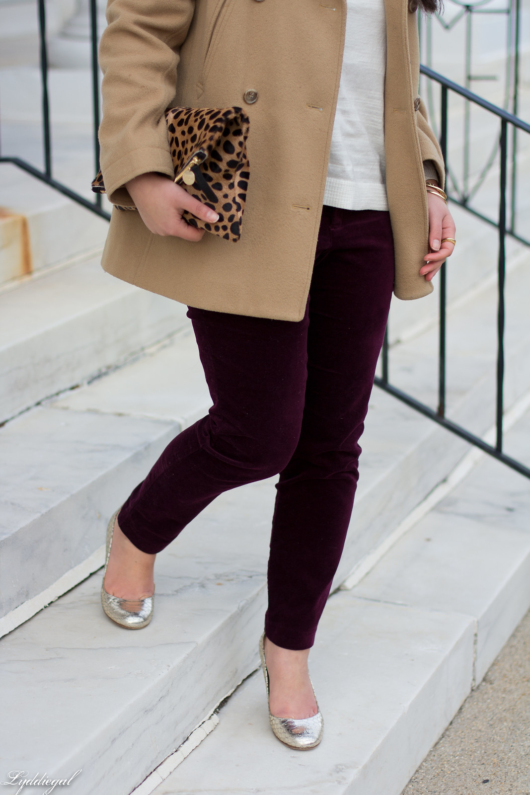 velvet pants, camel coat, silver pumps, leopard clutch-3.jpg