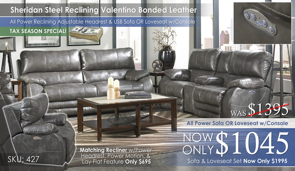 Sheridan Steel Reclining Valentino Bonded Leather Collection 427-sheridan-steel-cu1692_TAX