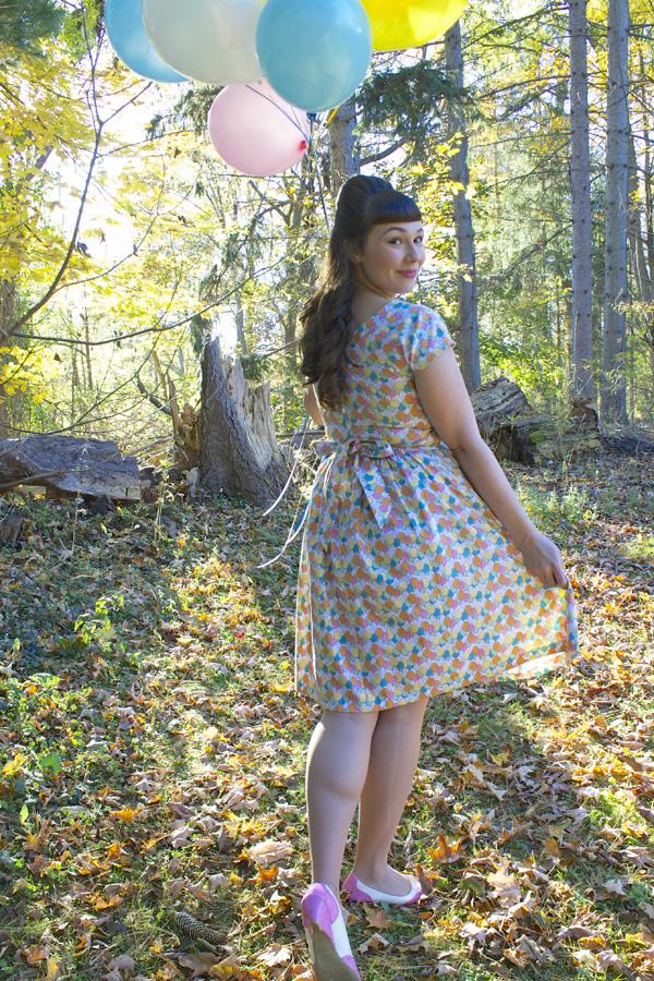 balloon print dress