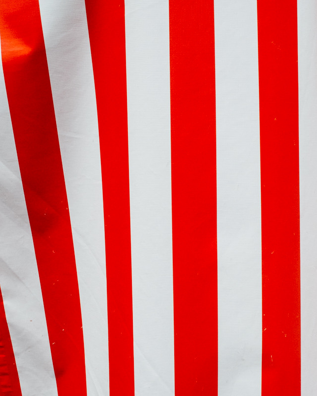 red and white striped awning