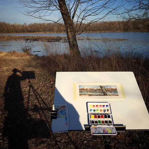sketching at lake springfield park
