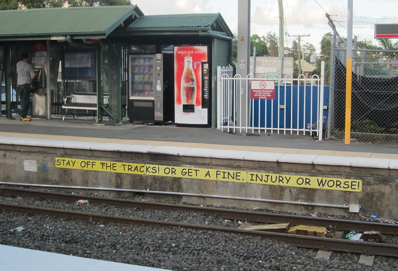 Warning at a Brisbane railway station