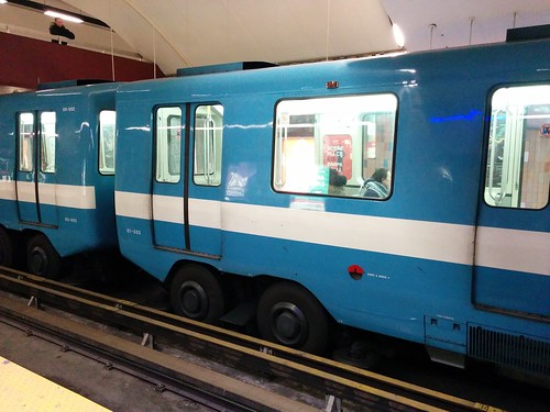 Blue-and-white STM subway train