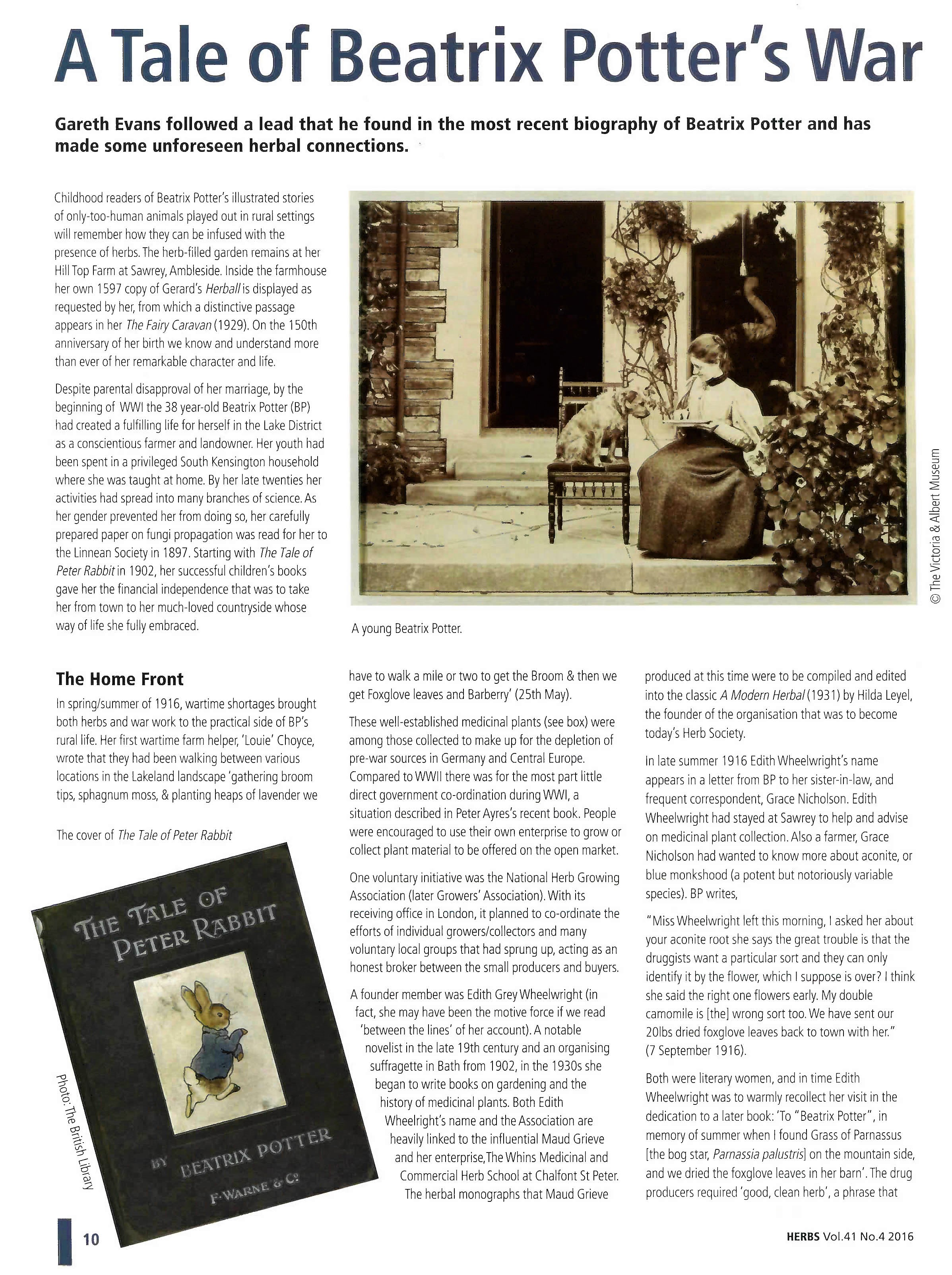 "Article, ""A tale of Beatrix Potter's War"";  Journal of the Herb Society."