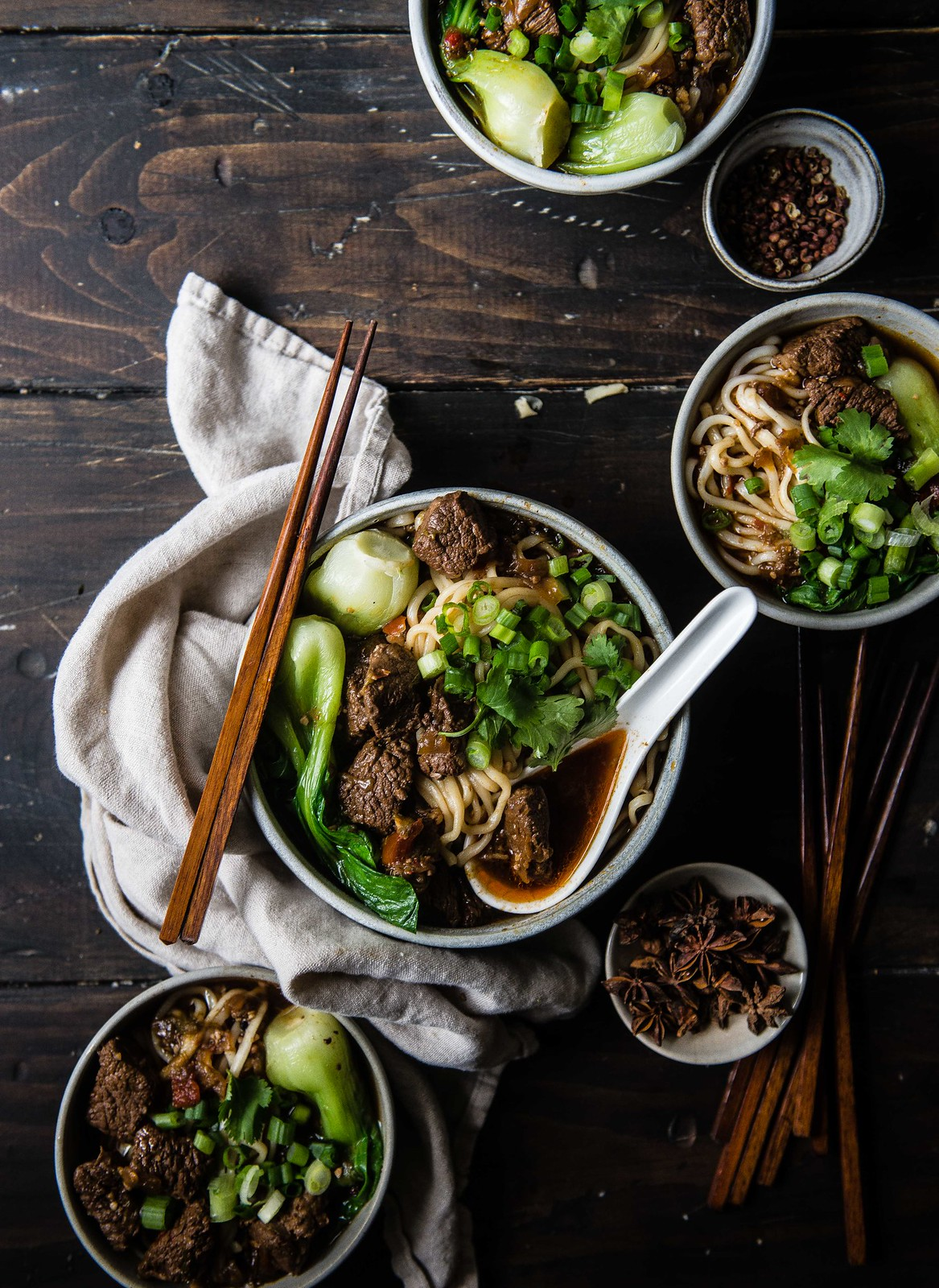 taiwanese spicy beef noodle soup (niu rou mian) | two red bowls