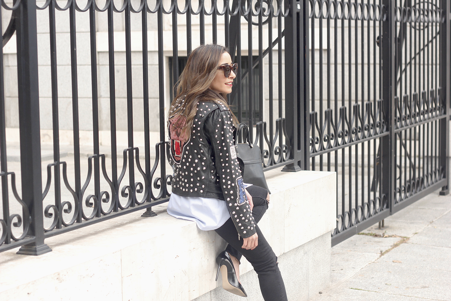 Leather Jacket With Studs And Patches ripped jeans heels furla bag céline sunnies03