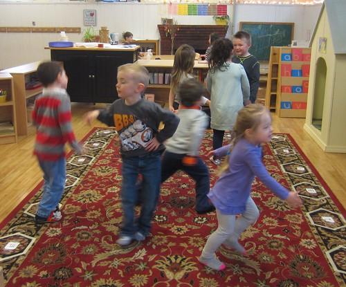 dancing to some instrumental string music