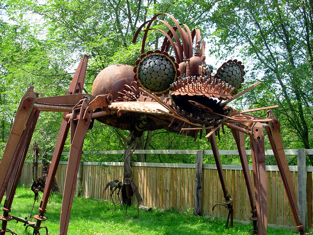 scrap metal spider part of the forevertron collection