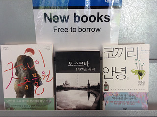Korean books on shelf