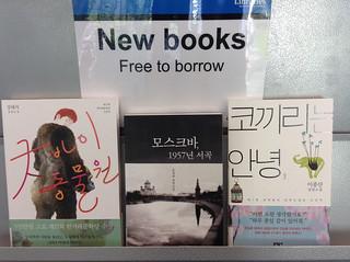 Korean books on shelf