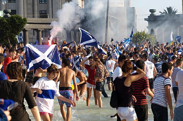 CD Tenerife fans, Santa Cruz, Tenerife