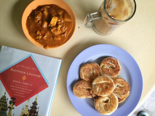 Sin Ming coin prata, mutton curry, teh si kosong ping. Karen Connelly's