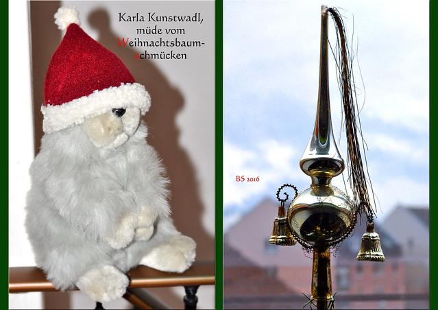 Karla Kunstwadl, müde vom Weihnachtsbaumschmücken ... Alte Weihnachtsbaumspitze ... Foto: Brigtte Stolle 2016
