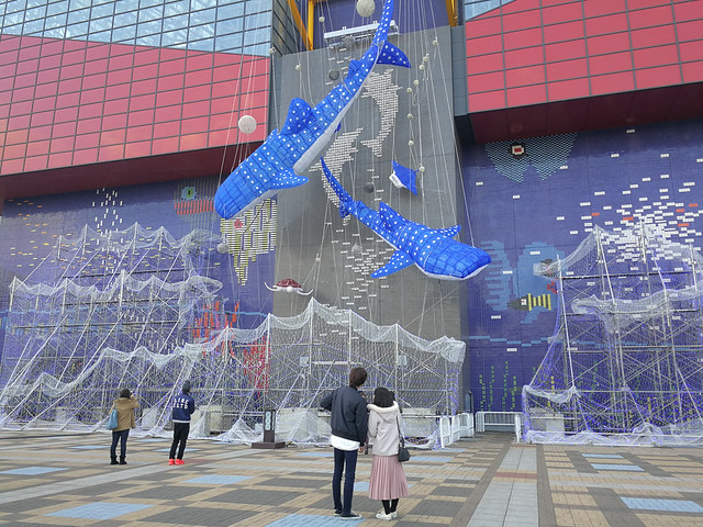 The Kaiyukan with the light installation of their prized exhibits the whale shark.
