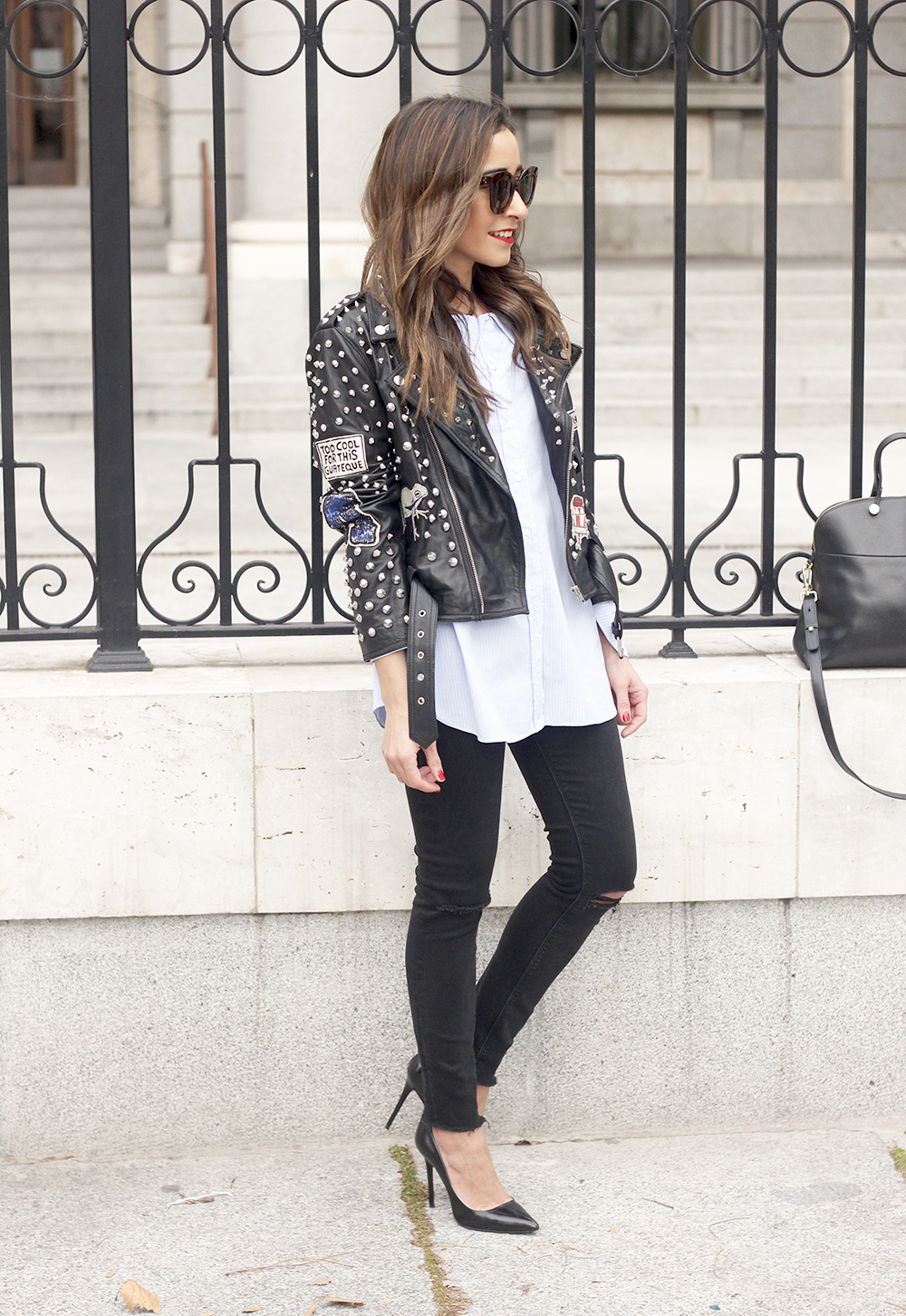Leather Jacket With Studs And Patches ripped jeans heels furla bag céline sunnies17