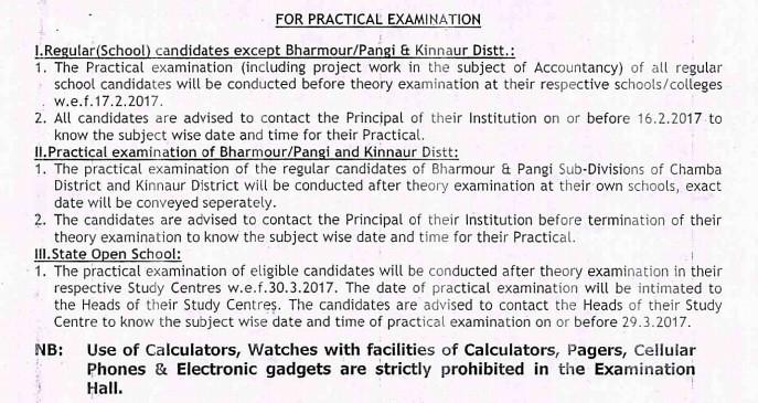 HP BOSE Class 12 Date Sheet - Practical Exam