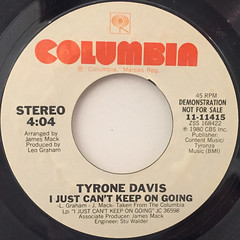 TYRONE DAVIS:I JUST CAN'T KEEP ON GOING(LABEL SIDE-A)