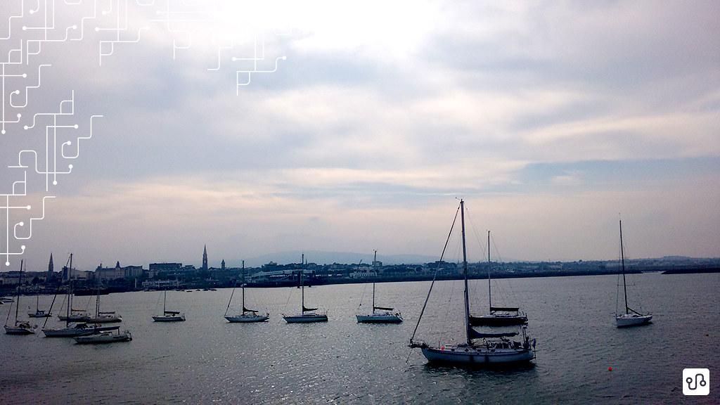 Vista do porto de Dún Laoghaire, ou Dunleary, ao sul de Dublin