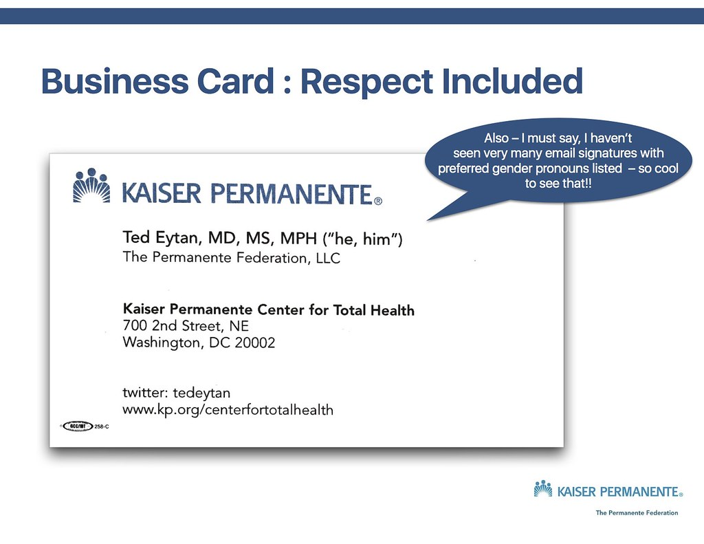 Ted Eytan MD Business Card with Pronouns | To show respect f… | Flickr