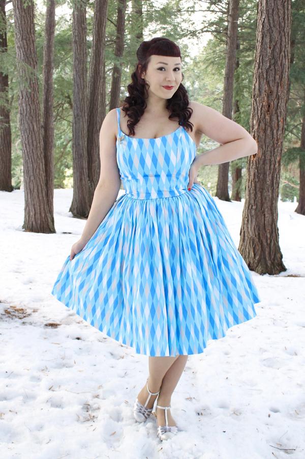 blue harlequin pinup