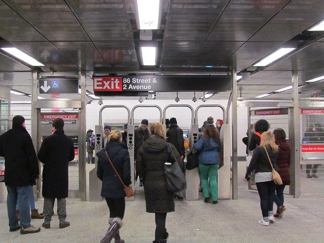 Crowds exit the Second Ave. Subway's 86th St. stop on Saturday afternoon. (Photo by Benjamin Kabak)