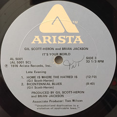 GIL SCOTT-HERON AND BRIAN JACKSON:IT'S YOUR WORLD(LABEL SIDE-C)