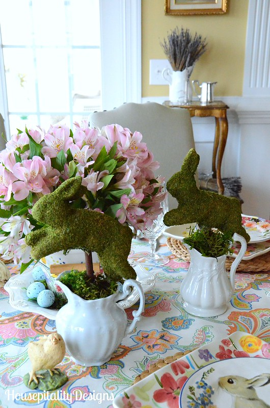 Easter Bunny Parade Tablescape-Moss Bunnies-Housepitality Designs